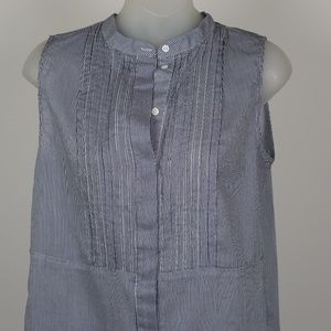 Blue White Striped Sleeveless Shirt